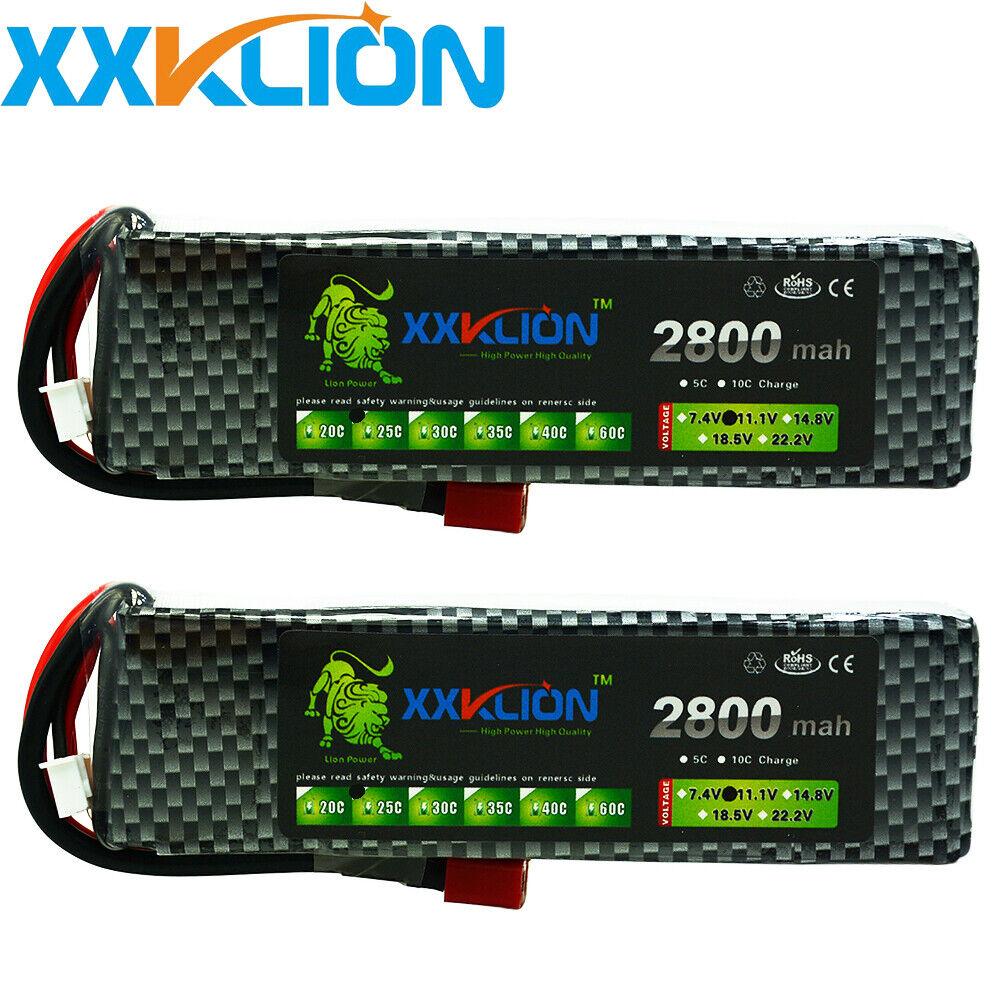 2pcs 11.1V 3S 2800mAh 25C LiPO Battery T plug Burst 50C RC model Lipolymer power