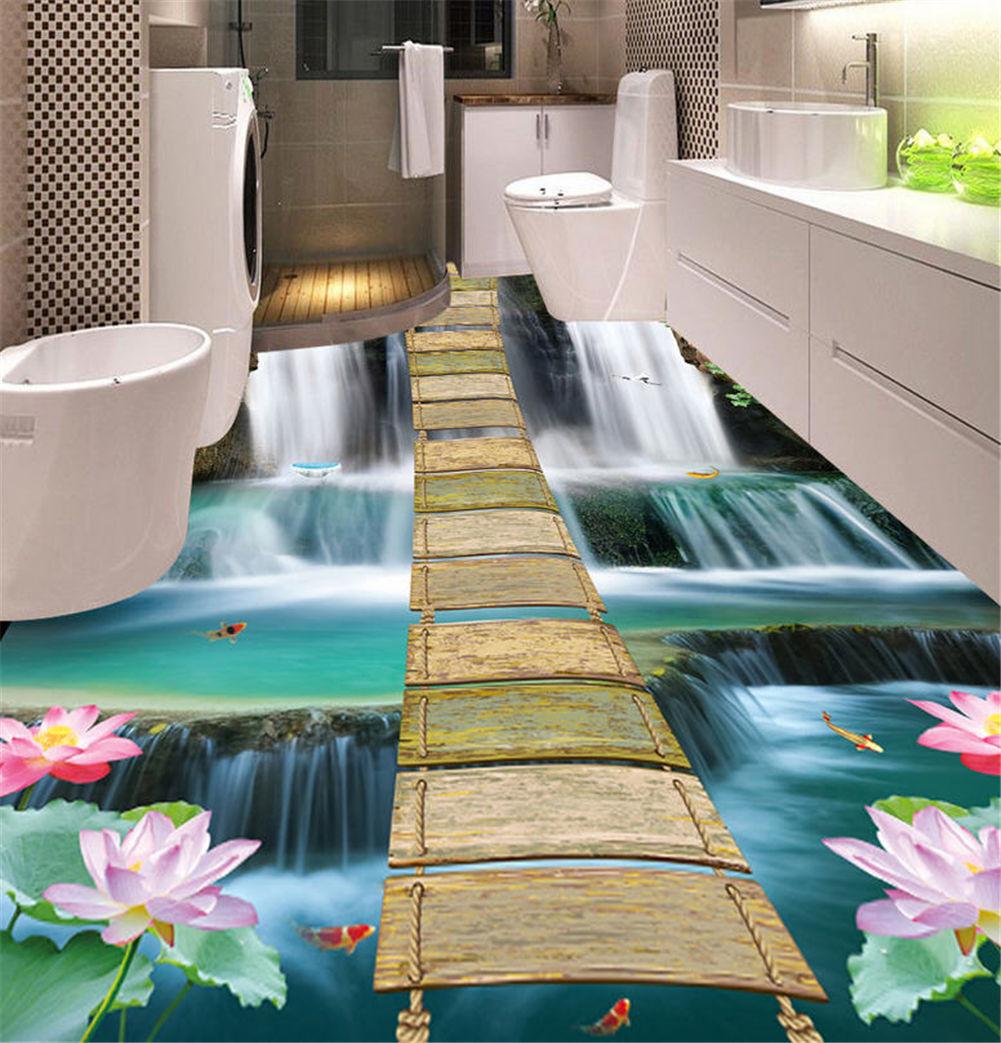 Limpid Waterfall 3D Floor Mural Photo Flooring Wallpaper Home Print Decoration