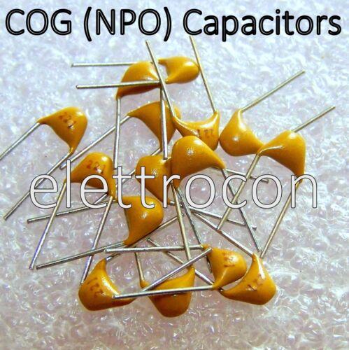 10 Pezzi Condensatori NPO COG 220pf  50V 5/% Condensatori Ceramici Multistrato