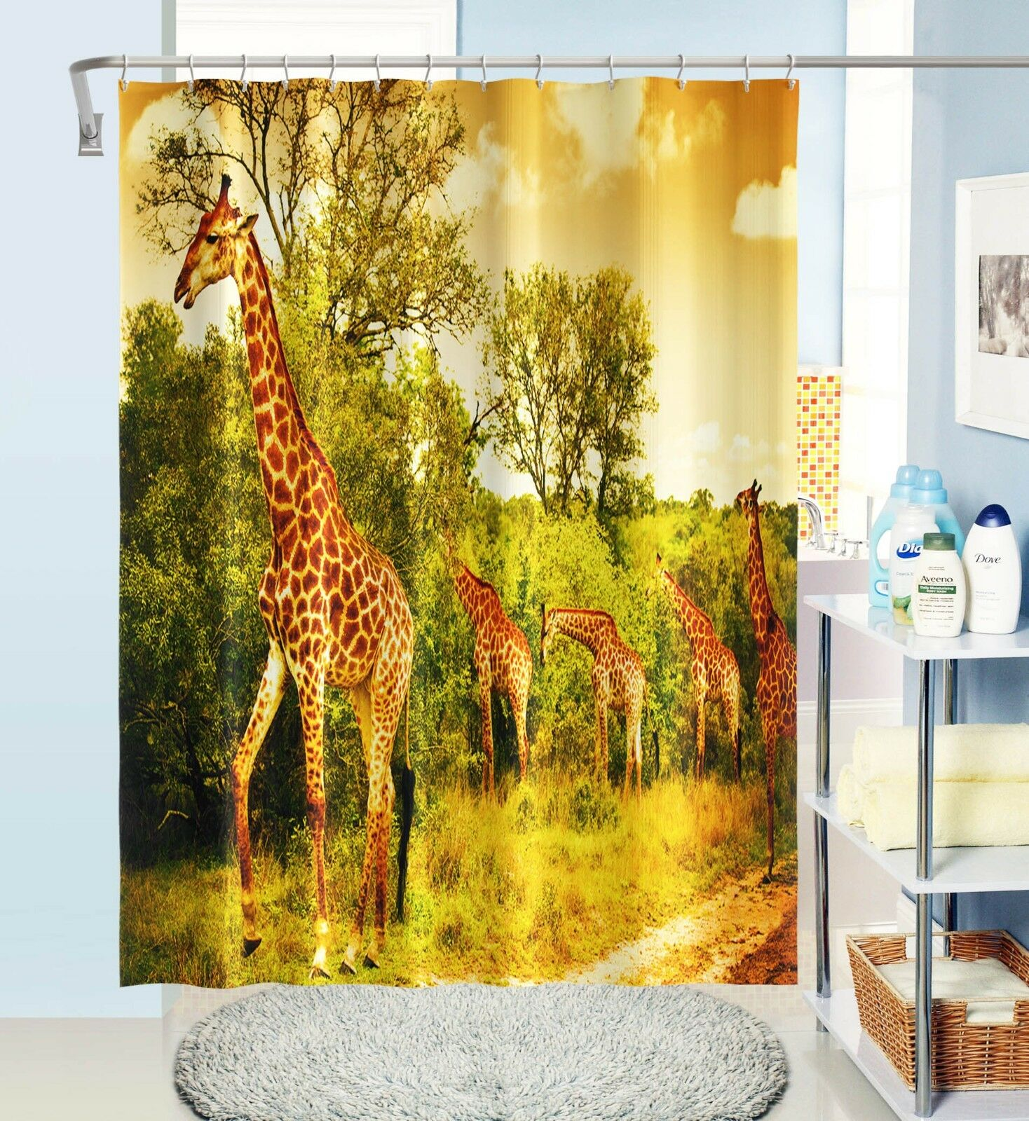 3D 3D 3D Giraffe Baum 32 Duschvorhang Wasserdicht Faser Bad Daheim Windows Toilette DE   Attraktiv Und Langlebig  173873