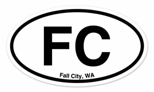"""FC Fall City Washington Oval car window bumper sticker decal 5/"""" x 3/"""""""