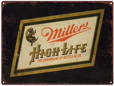Miller High Life Beer Witch Vintage Look Advertising Metal Sign 9 x 12  60038