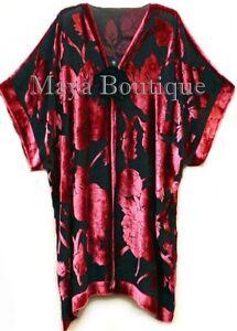 Silk-Burnout-Velvet-Jacket-Kimono-Duster-Red-amp-Black-No-Fringe-Maya-Matazaro