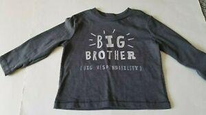 NWT Boys 12 Months BIG BROTHER Shirt Long Sleeve Gray Cotton Blend