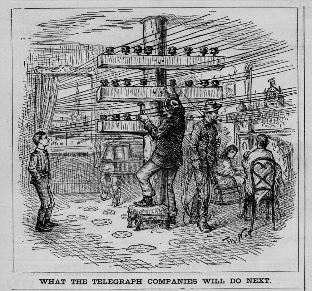 TELEGRAPH WIRES INSULATORS WHAT THE TELEGRAPH COMPANIES WILL DO NEXT ...