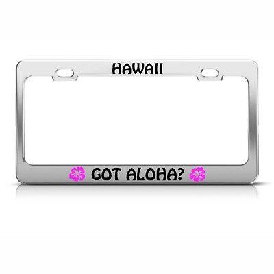 Chrome License Plate Frame LIVE ALOHA w//HIBSCUS  Auto Accessory
