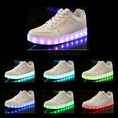 Unisex USB Charger LED Light Lace Up Luminous Sportswear Sneaker Casual Shoes
