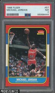"1986 Fleer Basketball #57 Michael Jordan RC Rookie HOF PSA 7 NM "" RAZOR SHARP """
