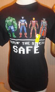 Men-039-s-Marvel-Comics-Avengers-Hulk-Wolverine-Ironman-Black-T-Shirt-Top-M-L