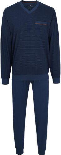 GÖTZBURG Herren Pyjama Schlafanzug bügelfrei atmungsaktiv blau V-Ausschnitt NEU