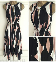 NEW EX M&S COLLECTION IVORY PEACH BLACK FIT & FLARE DRESS SIZE 6 - 14