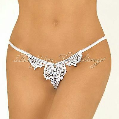Hot Lady G-String Briefs Knickers Lace Thongs Panties Crotchless Underwear White