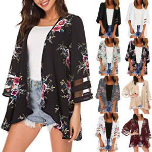 Women-Mesh-Panel-3-4-Bell-Sleeve-Pure-color-Chiffon-Casual-Loose-Kimono-Cardigan