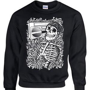 Skeleton-Boombox-Sweatshirt-Mens-Womens-jumper-skull-music-rock-metal-goth