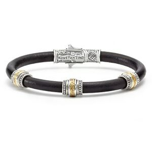 Konstantino-Men-039-s-Silver-Bronze-and-Leather-Bracelet