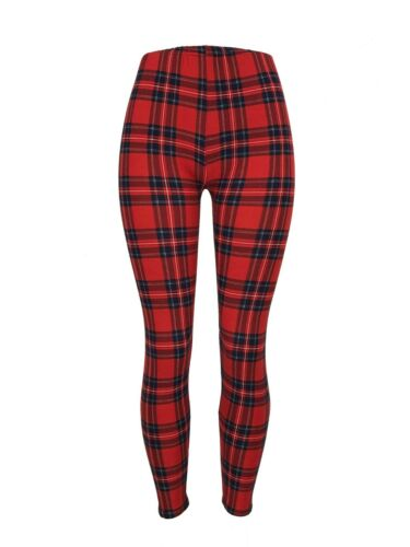 One Size Red Blue White Yellow OS Leggings Pants Buttery Soft Beautiful! PLAID!