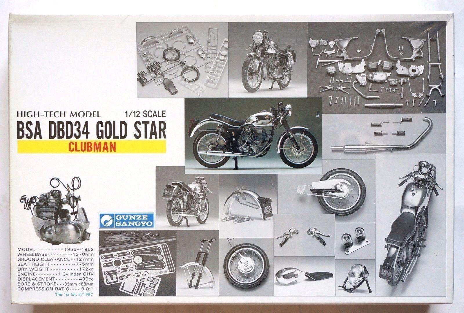 Gunze High-Tech model 1 12 BSA DBD34 gold Star Clubman unopened scale model kit