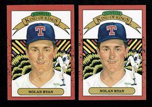 1990 DONRUSS NOLAN RYAN 2 ERROR CARDS KING OF KINGS #659 WRONG BACK & NO # RARE