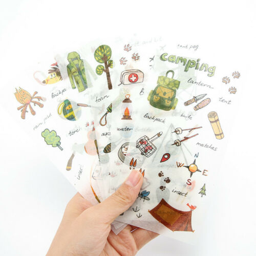 """/""""Go Camping/"""" Pack of 6 Beautiful Scrapbooking Stickers Craft DIY Decor Stickers"""