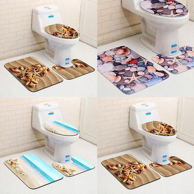 3pcs Ocean Styles Bathroom Rug Set Bath Mat Contour Toilet Lid Cover Kit Set