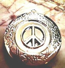"""PEACE PHOTO LOCKET Pendant Silver P on 18"""" Sterling Chain Necklace, HIPPIE Boho"""