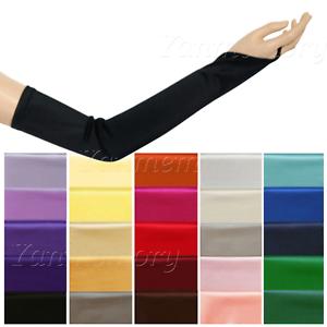 Fingerless-Stretch-Satin-Gloves-Elbow-Opera-Long-Ball-Evening-Party-Fancy-Dress