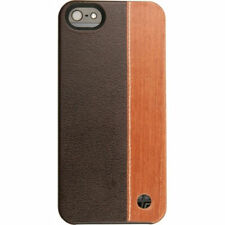 Trexta iPhone 5S, 5 & SE Real Genuine Leather & Real Wood DUO Cover/Case Brown