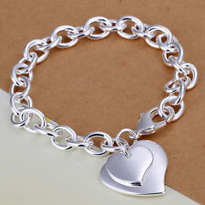Wholesale Sterling Solid Silver Fashion Charms Heart Chain Bracelet Xlsb279