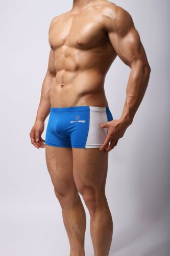 New BLUE WHITE swim trunks Swimwear Mens square boxer Style  swimming