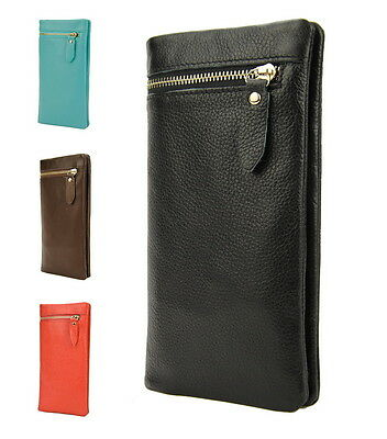 Men Genuine Leather Classic Bifold Zip Wallet Women Snap Coin Card Holder Purse