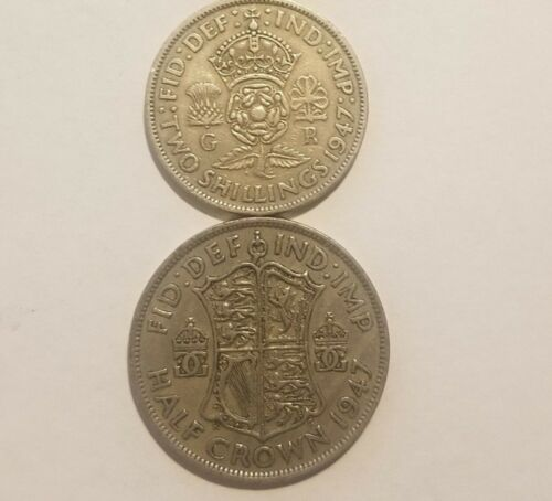 UK 1947 England King George VI  2 Shillings /& 1//2 Crown