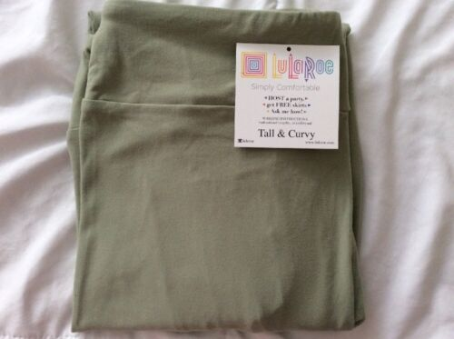 Lularoe TC Tall Curvy Leggings Solid Sage Green Unicorn Plus Pants New Sz 12-22