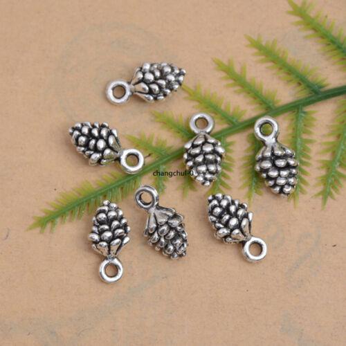15//50Pcs Tibetan Silver//Bronze Pine Cone Charm Bracelet Necklace Pendants DK197