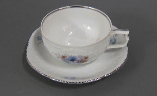 Teetasse mit UT Tasse Rosenthal Sanssouci Belvedere Platinrand Blaue Blume