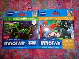 Lot-2-VTECH-INNOTAB-GAMES-Teenage-Mutant-Ninja-Turtles-amp-Spiderma-Lot-26