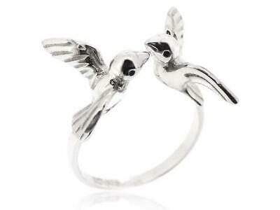 925 Sterling Silver Animal Sparrow Bird Ring Jewelry For