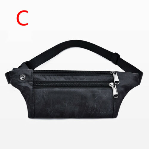 Men Fashion Fanny Pack Waist Bag PU Leather Polyester Money Phone Bags Casual US