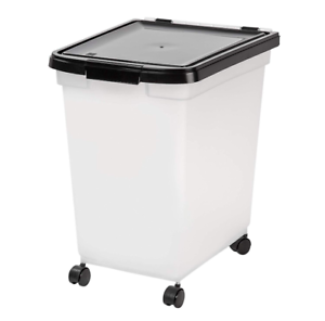 Pet Dog Cat Food Storage Container With Rolling Wheels Airtight Bin 50 lb New