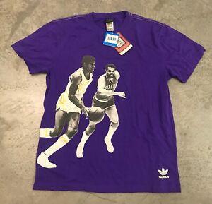 NWT NBA Mens LA Lakers Short Sleeve Team Shirt-Size-Medium-Color-Yellow//Purple