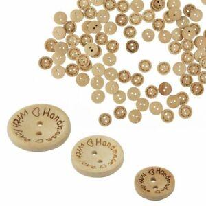 100x Holzknöpfe DIY Deko Rund Buttons Nähen Kleidung Tasche Retro Basteln 20mm