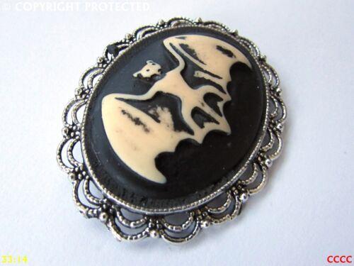 steampunk gothic pin badge brooch bat dracula vampire cameo #L43 #G43 #Z43
