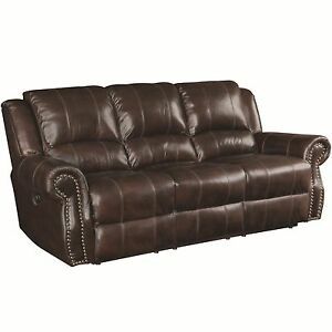 Details About Rustic Burgundy Brown Top Grain Traditional Leather Sofa Furniture