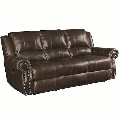 TRADITIONAL RUSTIC BURGUNDY DARK BROWN TOP GRAIN LEATHER NAILHEAD SOFA  FURNITURE | eBay