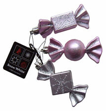 Christmas Tree Baubles Pastel Pink & Silver Sweet Candy Ornaments, 3 Decorations