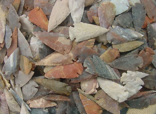 "1 crystal clear quartz from bulk pile arrowheads replica arrow head 1/""-1 1//2/"""