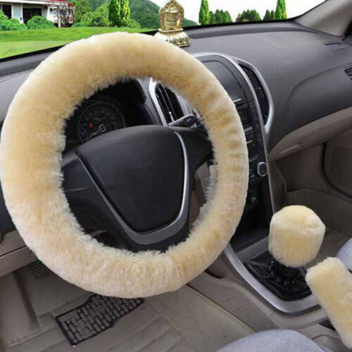 3Pcs//set Winter beige soft warm plush car steering wheel cover handbrake cove/_UK