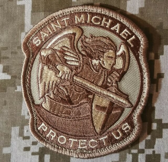 MODERN SAINT ST. MICHAEL PROTECT US TACTICAL USA ARMY MORALE DESERT HOOK PATCH