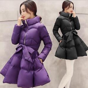 Womens-Elegant-Stand-Collar-Belt-Cotton-Down-Skirt-Winter-Jacket-Outwear-Coat