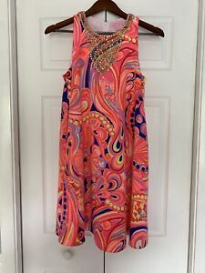 Lilly-Pulitzer-Mimi-Trapeze-Dress-Orange-Red-Blue-Gold-Sequin-XS-FREE-SHIP