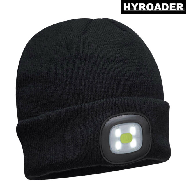 3 Pieces 5 LED Knitted Flashlight Beanie Cap Winter Warm Headlamp Hat,Unisex